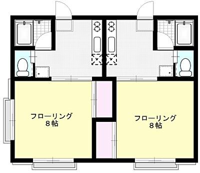 コーポ栄 X01~X02号室 間取り