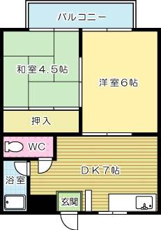 コーポ田辺 201号室 間取り