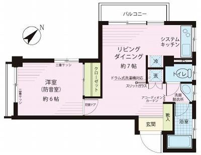 渋谷区東1丁目楽器可(防音・ピアノ・弦管楽器・声楽・DTM)マンション 間取り