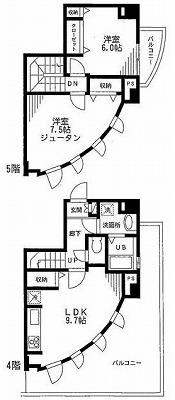 渋谷区本町6丁目楽器可(防音・ピアノ・弦管楽器・声楽・DTM)マンション 間取り