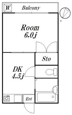 メゾンK 1-E号室 間取り