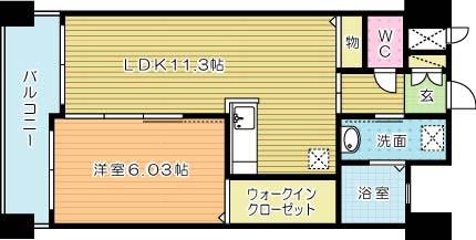サンシャイン熊本 602号室 間取り
