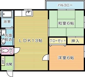 コーポ浅倉Ⅱ 301号室 間取り