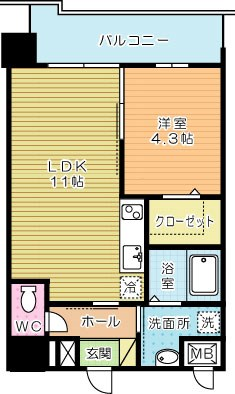 フェリシエ三萩野 503号室 間取り