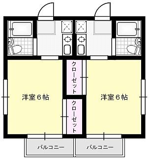 ヴィラカナル X01~X04(2F)号室 間取り
