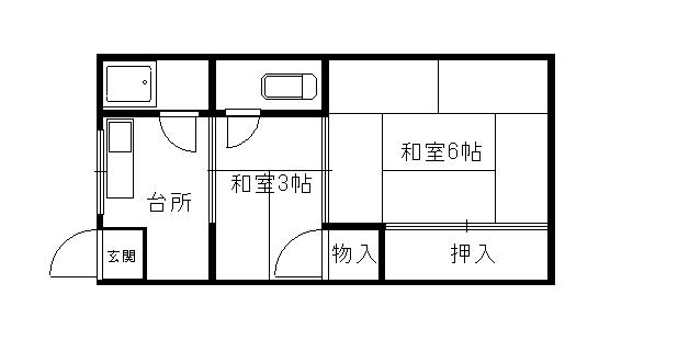 堤コーポ 3A-7号室 間取り