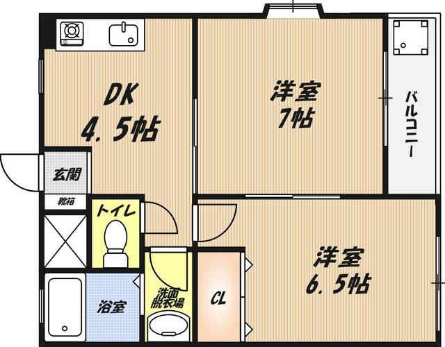津之江パークハイツ 302号室 間取り