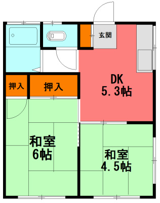 岩田アパート 202号室 間取り