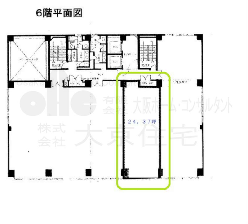 八尾駅前嶋野・住友生命ビル 6階右端から2番目号室 間取り