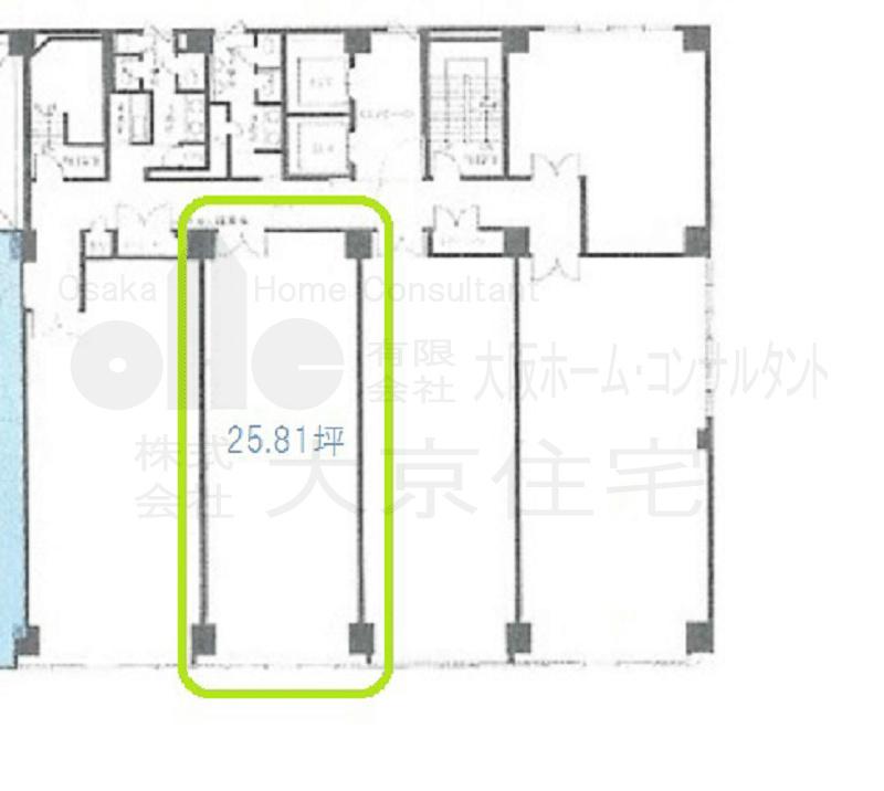 八尾駅前嶋野・住友生命ビル 9階真ん中号室 間取り
