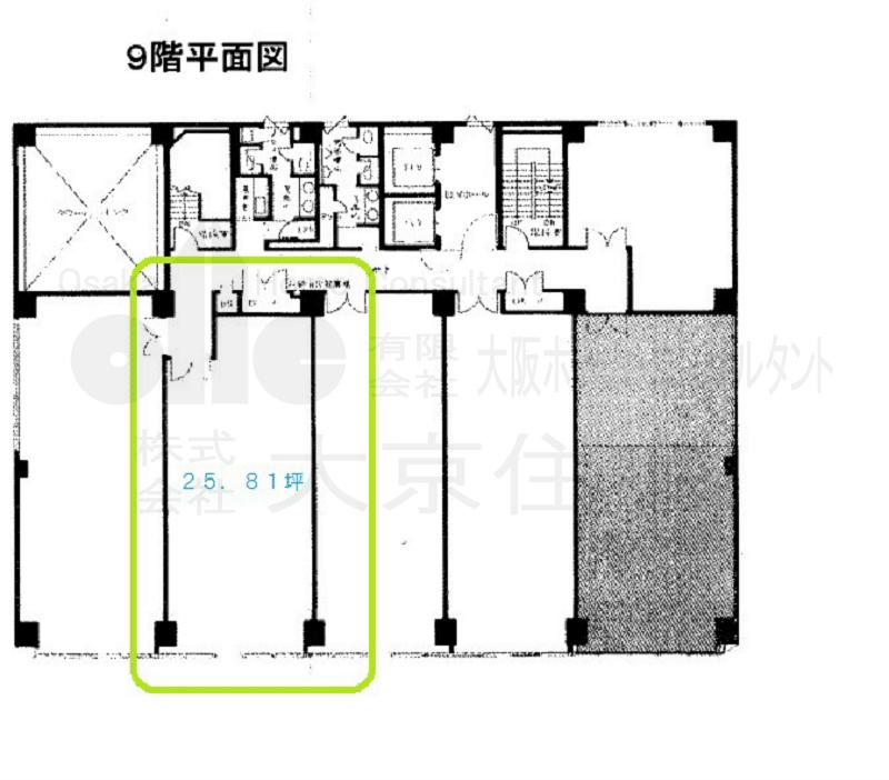 八尾駅前嶋野・住友生命ビル 9階左端 から2番目号室 間取り
