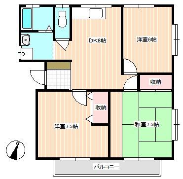 西大坪Mアパート 間取り図