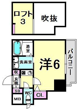 エステムコート神戸県庁前Ⅲフィエルテ 間取り