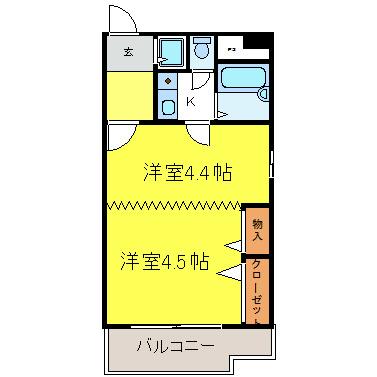 エスト葵南マンション 9B号室 間取り