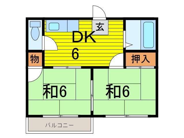 石川ハイツ 201号室 間取り