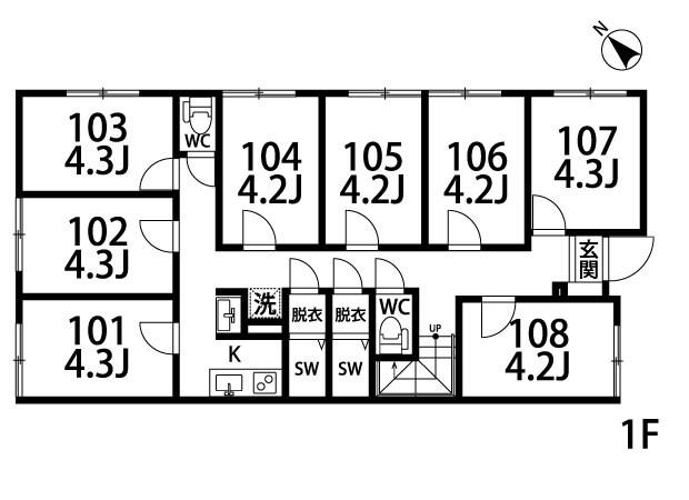 アパートメントシェアハウス沼袋Ⅰ 104号室 間取り
