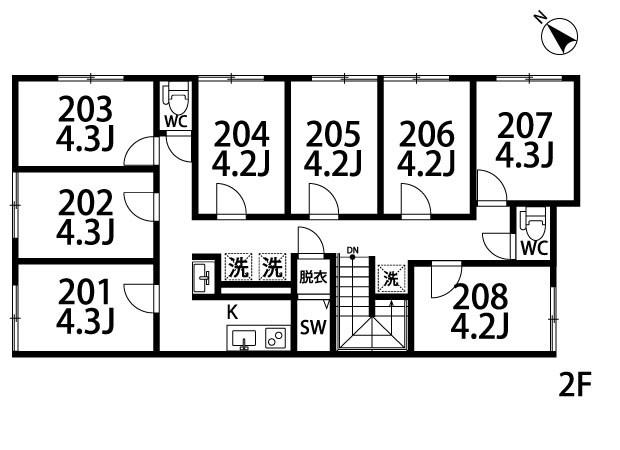アパートメントシェアハウス沼袋Ⅰ 206号室 間取り