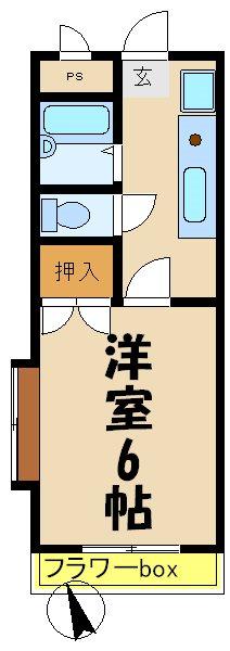 ピュアカレッジ 201 学生方向け4年入居限定で1年目家賃2.6万円、2年目以降3.4万円 入居募集 201号室 間取り