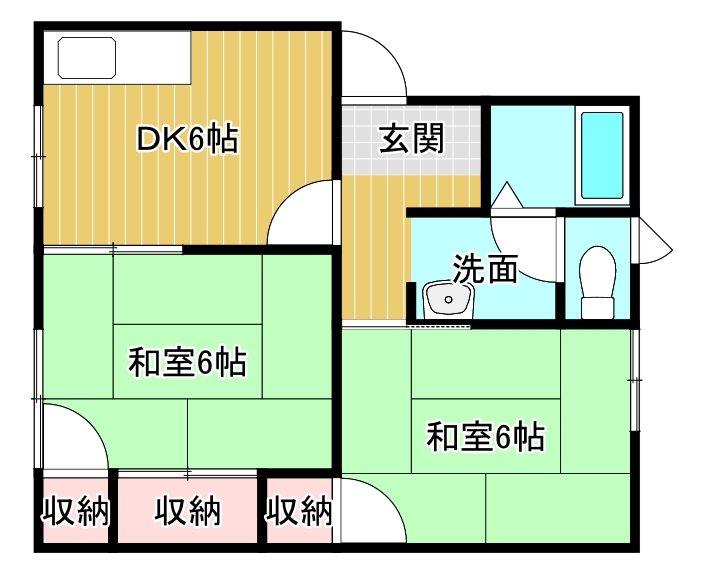 広栄中西マンション C 103号室 間取り