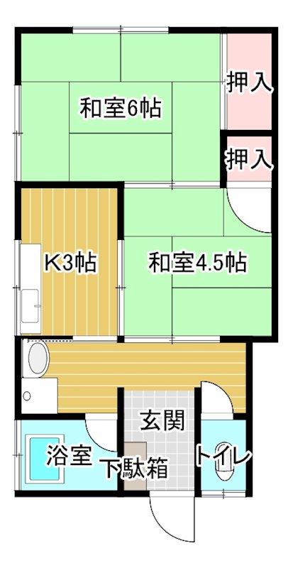 熊田アパート  2号室 間取り