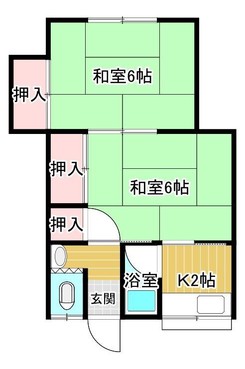熊田アパート  3号室 間取り