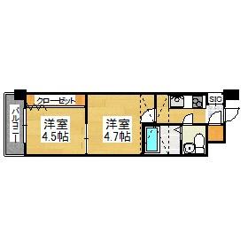 No.46 Vプロジェクト2100天神 1503C号室 間取り