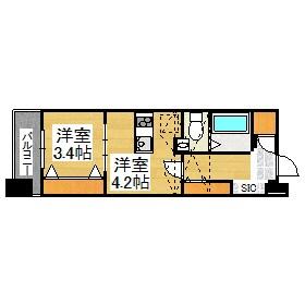 TOWERS AVANTGARDE博多№62 1705B号室 間取り