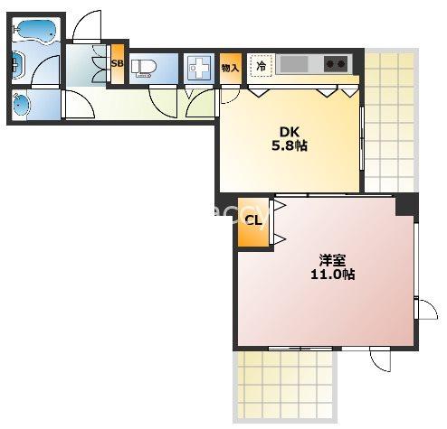 ベルファース大阪新町 606号室 間取り