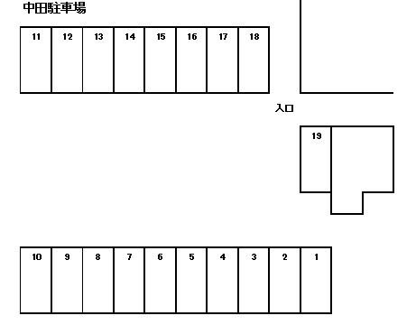 中田駐車場 1~19号室 間取り