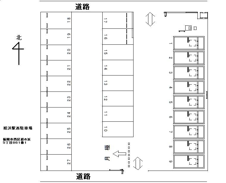 姪浜駅西駐車場 1~18号室 間取り