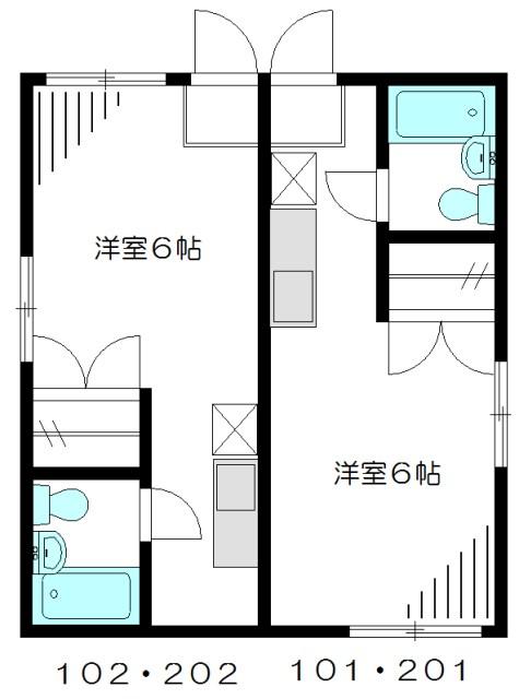 第二香川ハイツ 202号室 間取り