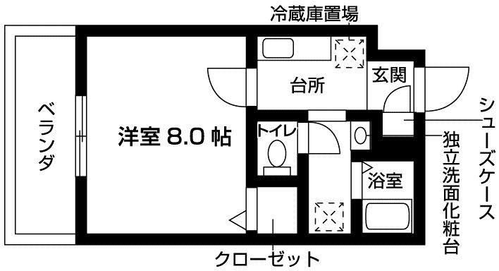 ポルトアーレミオKOBE(1K) 間取り図