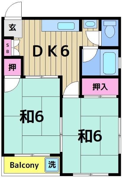 コーポ中島 203号室 間取り