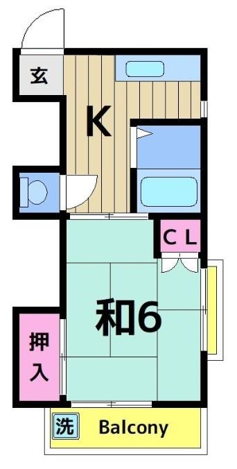 大川コーポ 201号室 間取り