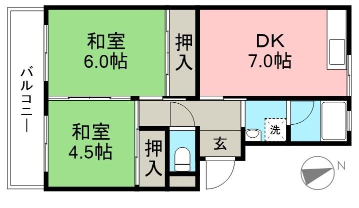 市川マンションⅡ 10号室 間取り