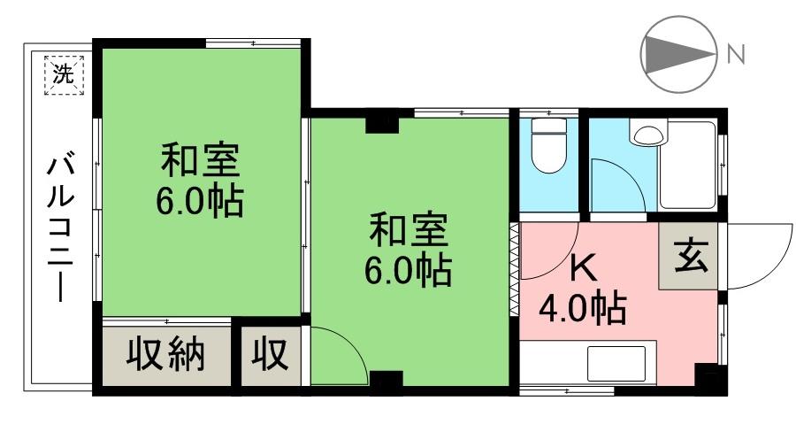 FKマンション 2F号室 間取り