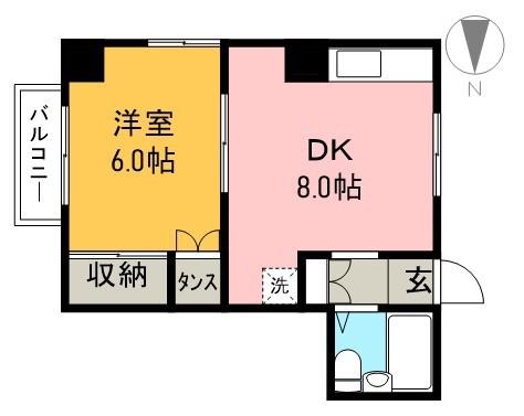 しらさぎマンションⅡ 2C号室 間取り