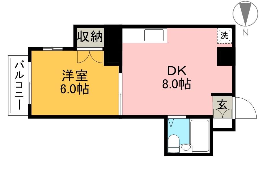 しらさぎマンションⅡ 2B号室 間取り