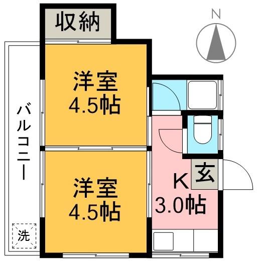 平成ハイツ 202号室 間取り
