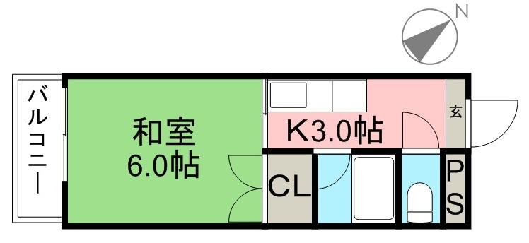 コーポ青雲 305号室 間取り