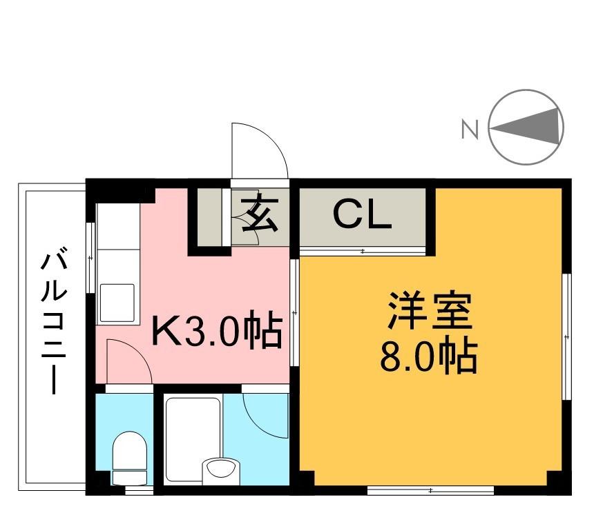コーポ桜 302号室 間取り