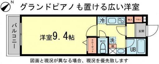 横浜市中区新山下1丁目楽器可(防音・グランドピアノ・弦楽器)マンション 402号室 間取り