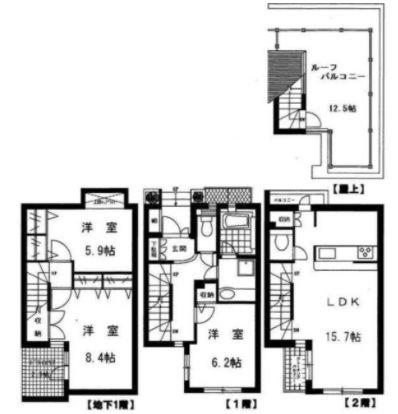 目黒区目黒3丁目楽器可(ピアノ・弦楽器)タウンハウス 102号室 間取り