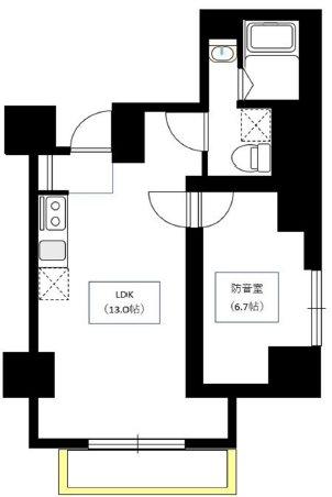 台東区三筋1丁目楽器可(防音・24時間演奏・グランドピアノ・弦・管楽器・声楽・DTM)マンション 1101号室 間取り