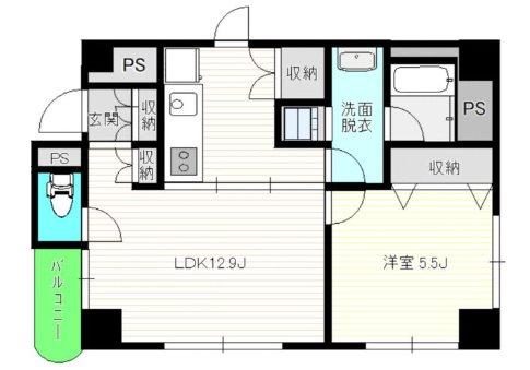 台東区東上野4丁目楽器可(防音・ピアノ・弦・管楽器・声楽)マンション 703号室 間取り