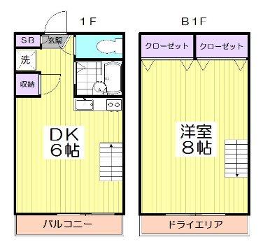 杉並区和田2丁目楽器可(ピアノ・弦管打楽器・声楽などその都度相談)マンション 1・B1階号室 間取り