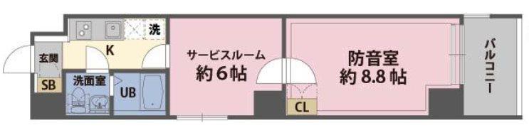 横浜市南区永楽町1丁目楽器可(防音・24時間演奏・グランドピアノ・弦管楽器・声楽・DTM)マンション 201号室 間取り
