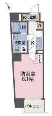 板橋区熊野町楽器可(防音・24時間演奏可能・グランドピアノ・管・弦楽器・声楽・DTM)マンション 301号室 間取り
