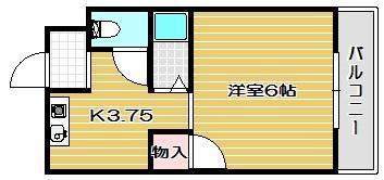 津之江パークハイツ2号館 406号室 間取り