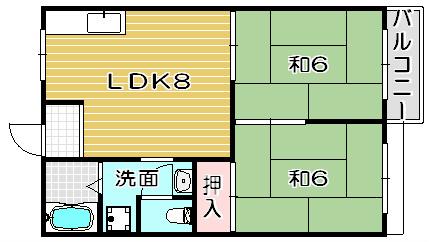 宮之川原サンハイツ 207号室 間取り